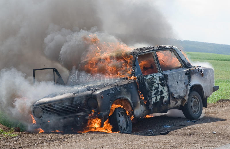 The burning car royalty free stock images