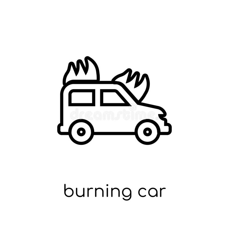 Burning car icon. Trendy modern flat linear vector Burning car i vector illustration