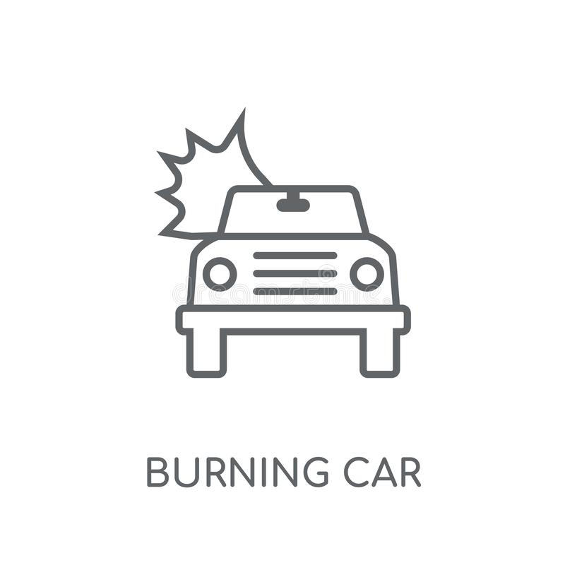 Burning car linear icon. Modern outline Burning car logo concept vector illustration
