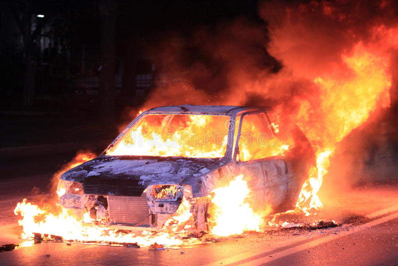 Download Burning car stock image. Image of foam, burn, flame, hose - 33774749