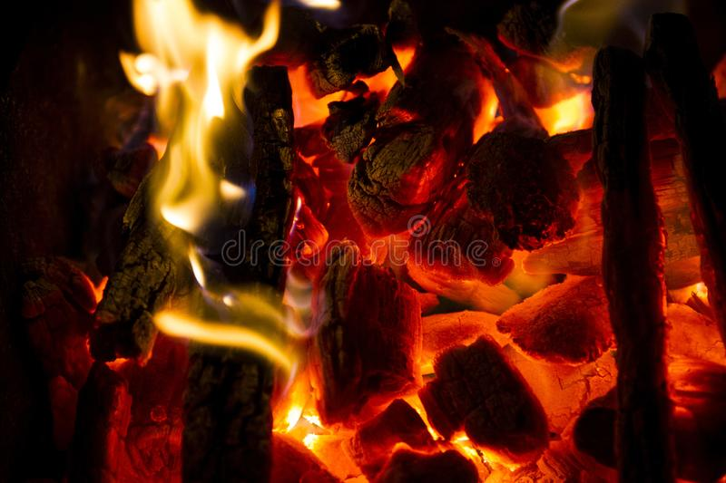 Burning charcoal. Close up background stock images