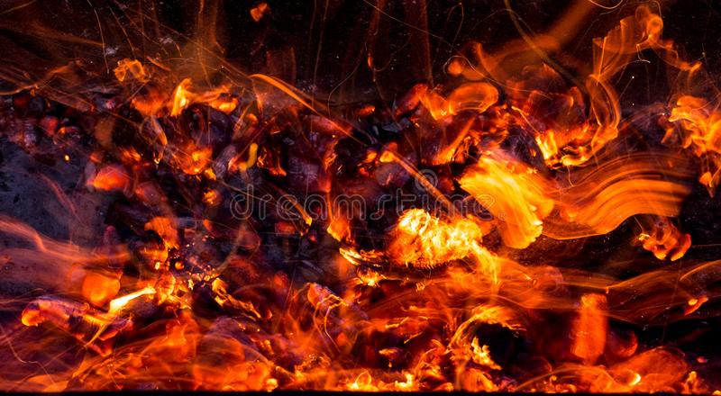 Burning charcoal as background stock photo
