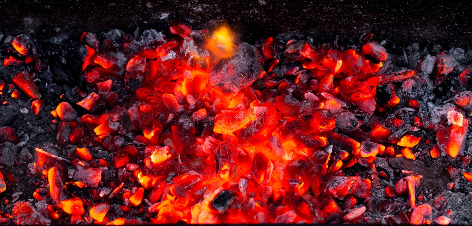 Burning charcoal as background royalty free stock photos