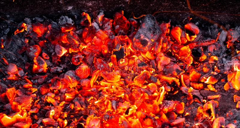 Burning charcoal as background royalty free stock photography