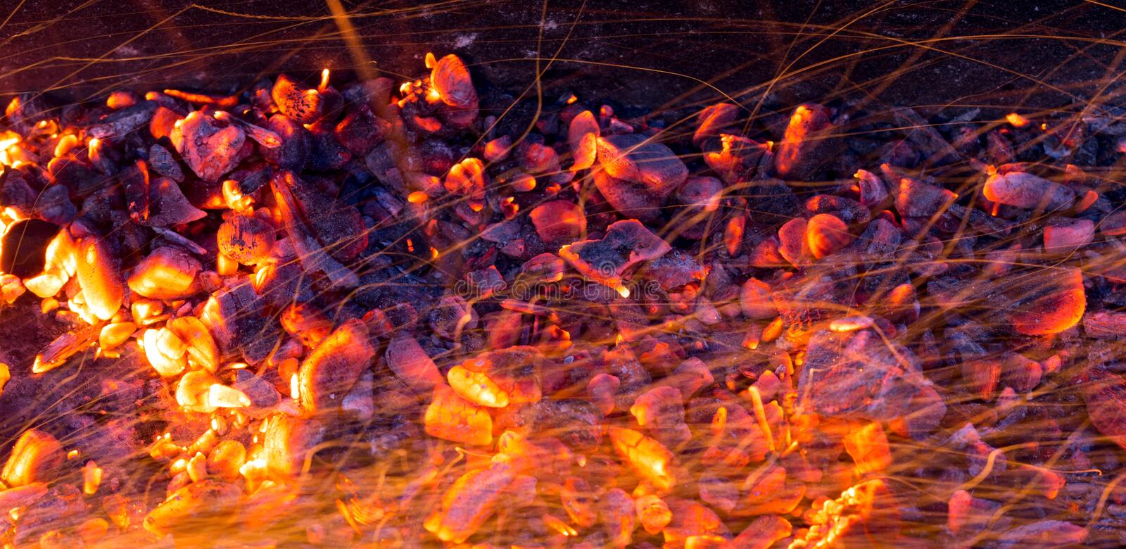 Burning charcoal as background royalty free stock image