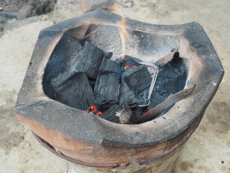 Burning charcoal. royalty free stock photography