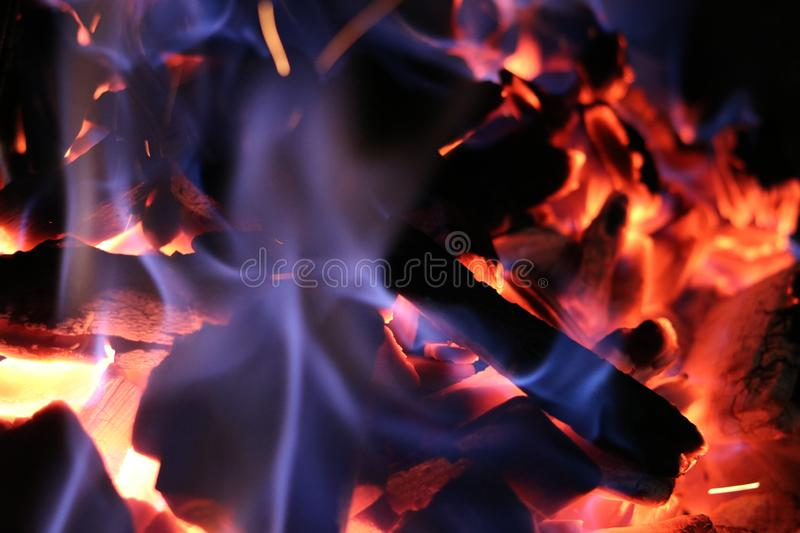 Burning Charcoal for barbecue grill. Close up shot of hot burning charcoal for barbecue grill stock image