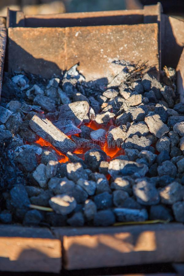 Burning charcoal. Ready for forging iron royalty free stock photography