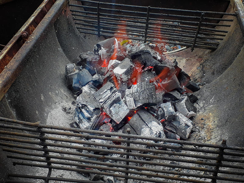 Burning charcoal in the fireplace. royalty free stock images