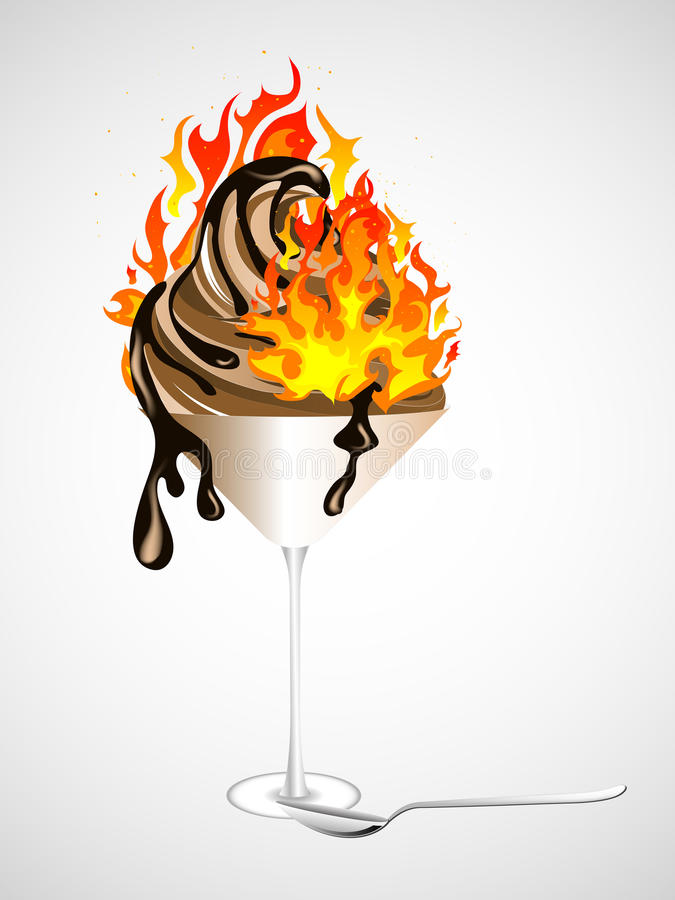 Download Burning chocolate sundae stock vector. Image of candy - 32099277