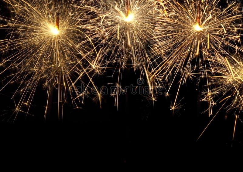 Burning christmas sparklers stock photography