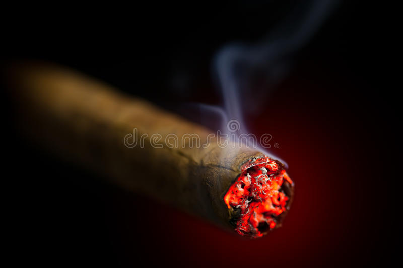 Burning cigar royalty free stock photos