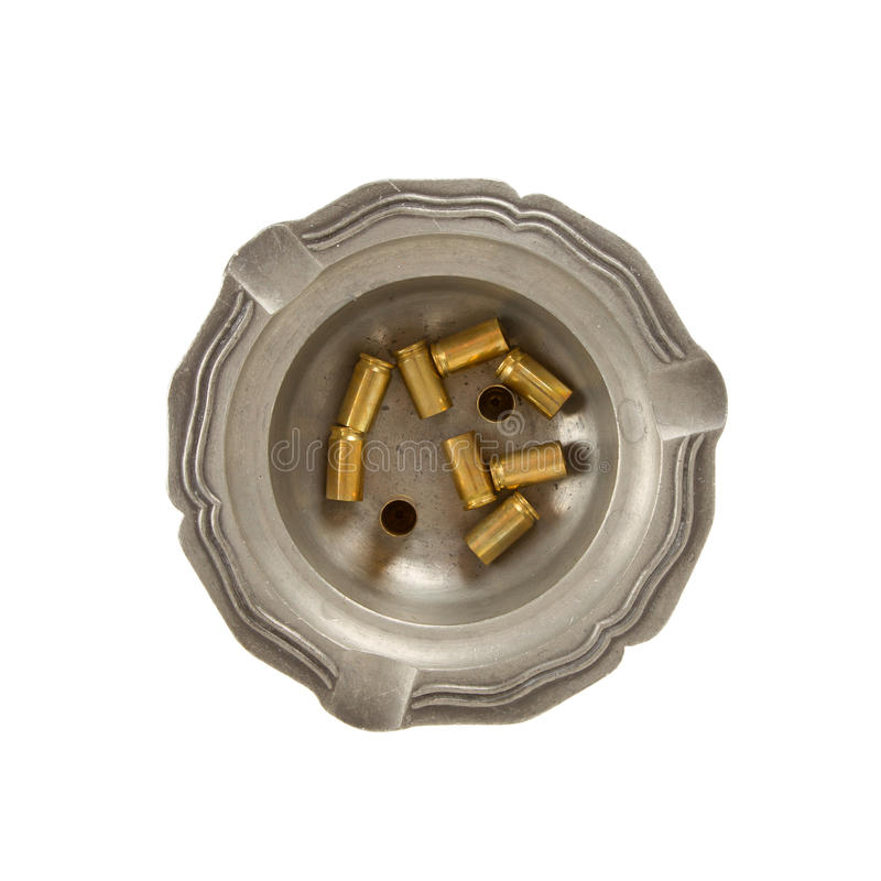 Free Burning Cigarette And Empty 9mm Bullet Casings In An Old Tin Ash Stock Photos - 28028023