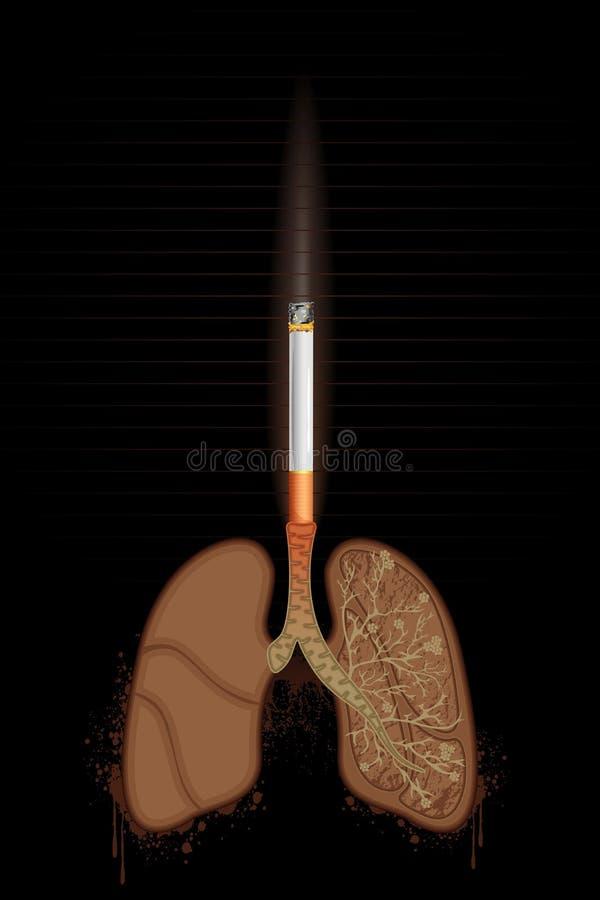 burning cigarettlungs stock illustrationer