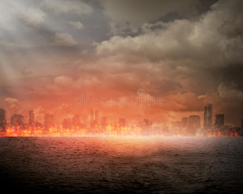 Burning city. Disaster concept. You can put your design on the city royalty free stock images