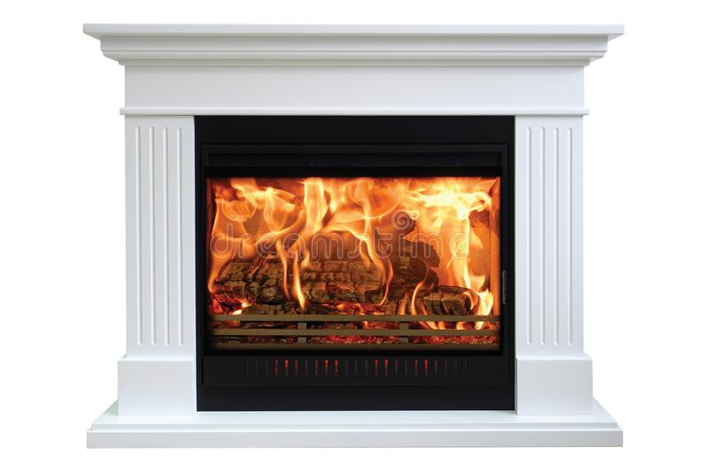 Burning classic fireplace of white marble. Isolated on white royalty free stock images