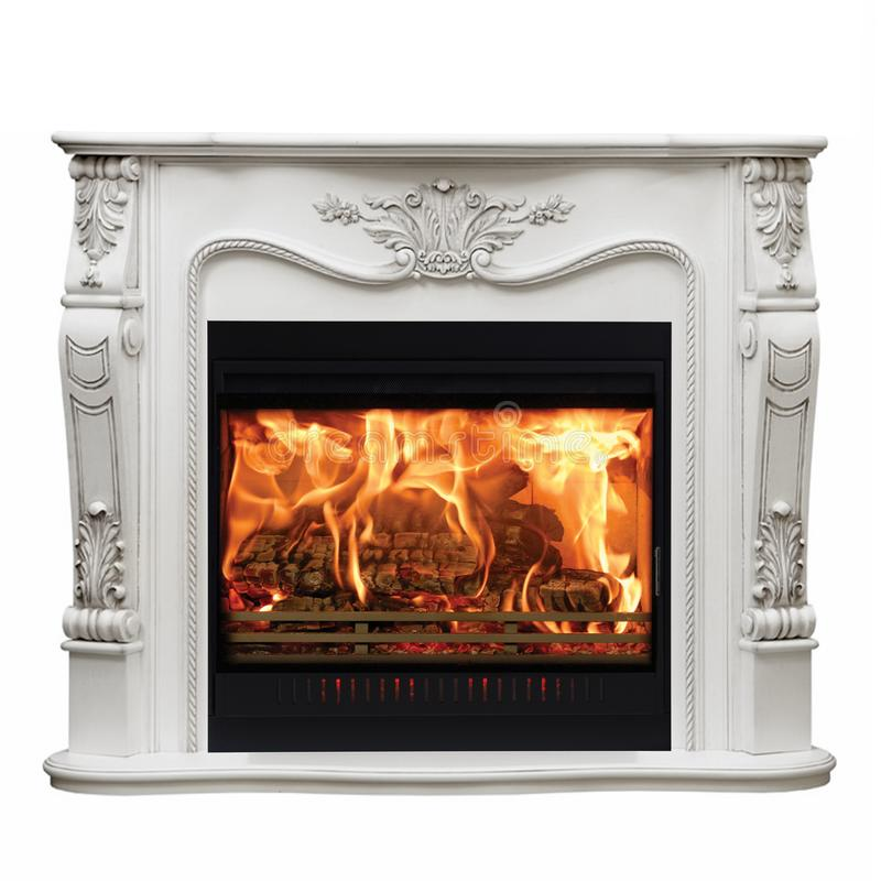 Burning classic fireplace of white marble. Isolated on white stock images