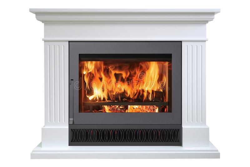 Burning classic fireplace of white marble, isolated on white.  royalty free stock photography