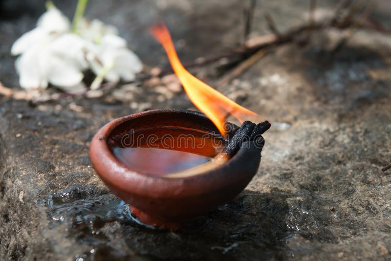 Burning clay oil lamp with white flowers a buddhist and hindu te. Mple as a traditional offerings in Sri Lanka royalty free stock photos