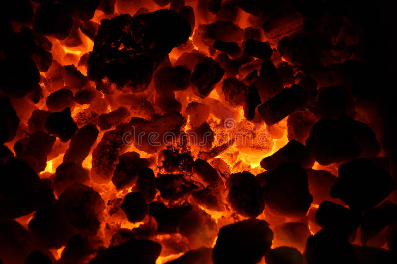 Burning coals. Breathing hotly maw of the furnace. Burning coals royalty free stock photography