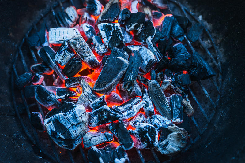Burning coals, close up, background, top view stock photo