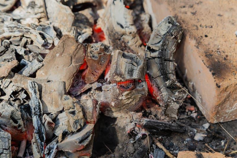 Burning coals at night ,Decaying charcoal, barbeque season. stock photo