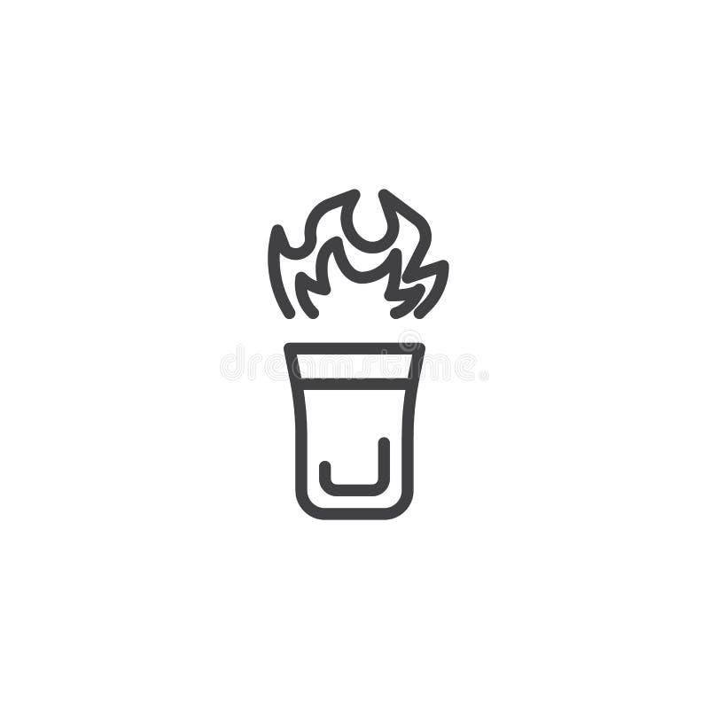 Burning cocktail glass line icon vector illustration