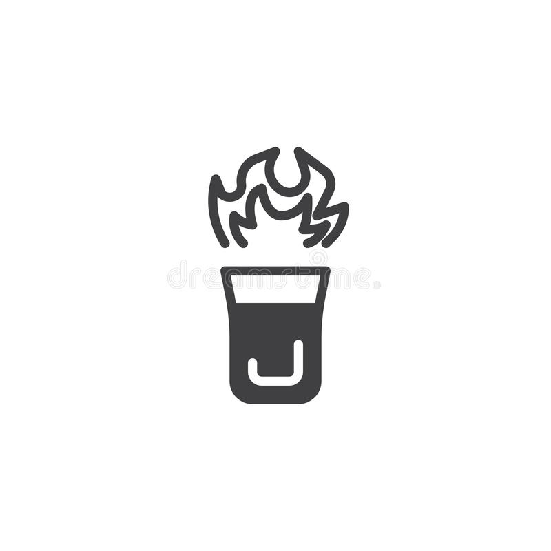 Burning cocktail glass vector icon royalty free illustration