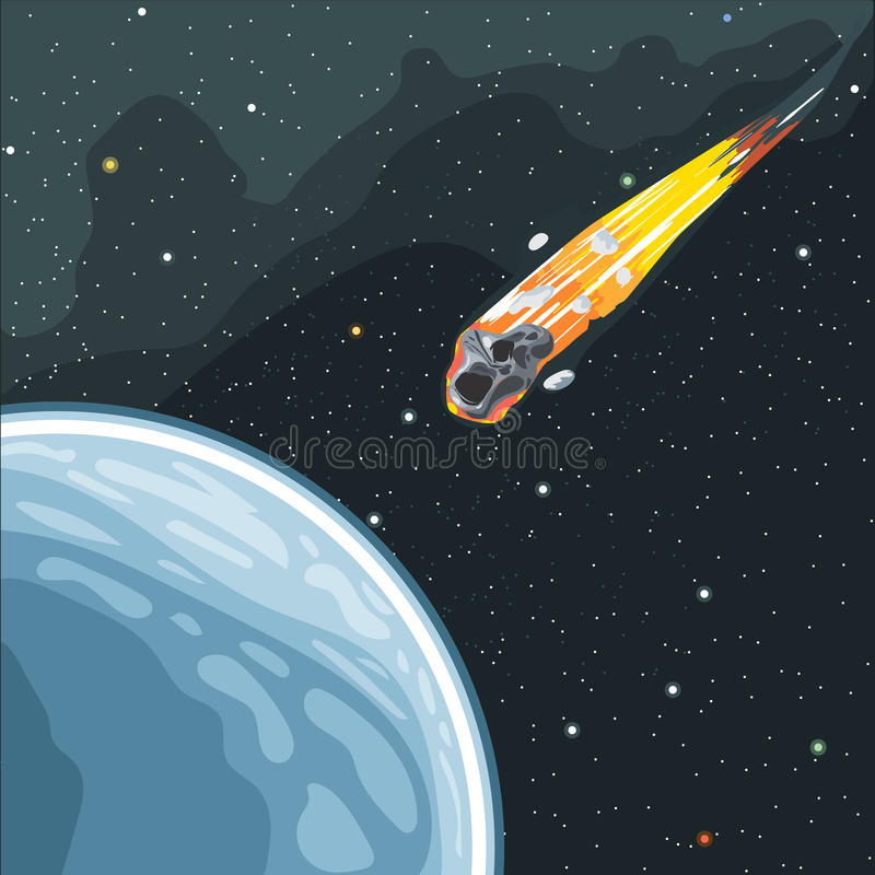 Burning comet flying in space to planet earth stock illustration