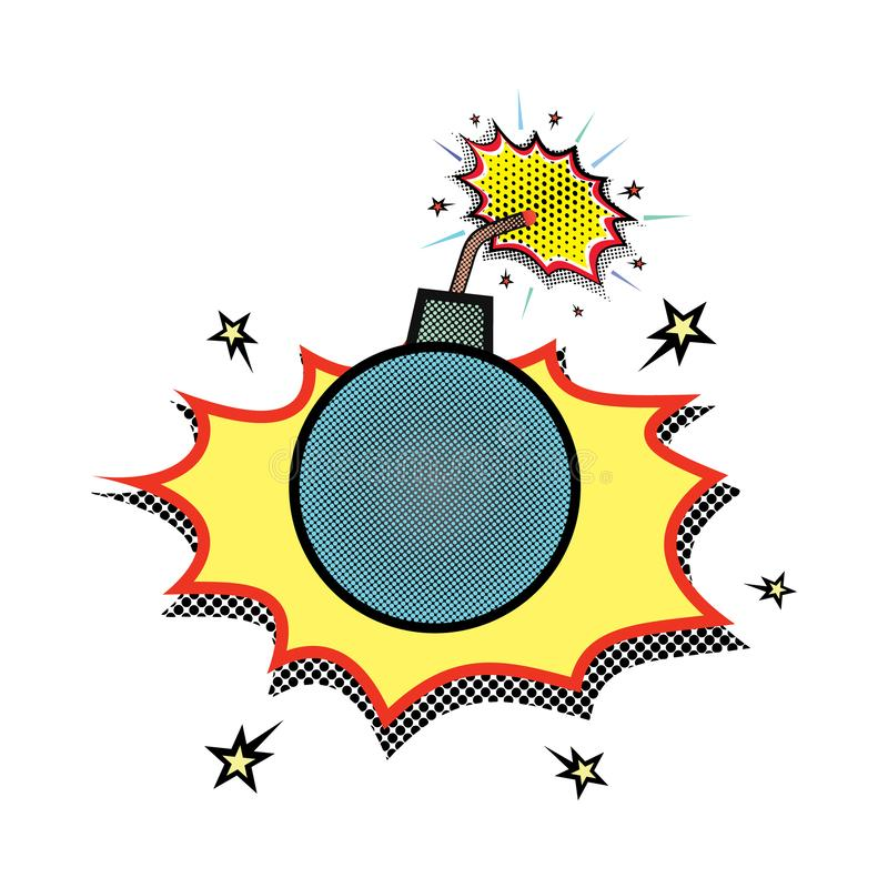 A bomb with a burning wick and two fires, which is about to explode.  burning bomb or core in comic style. vector illustration