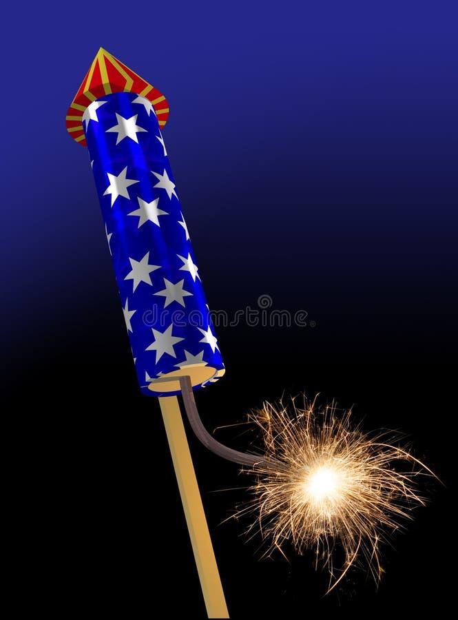 Burning d'allumeur de fusée de feux d'artifice illustration stock