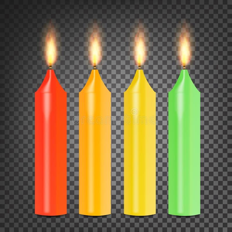 Burning 3D Realistic Dinner Candles Vector. Set Colorful On Dark Transparent Background Illustration stock illustration