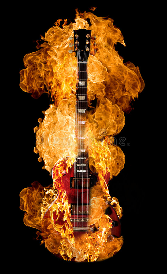 Burning da guitarra fotografia de stock royalty free
