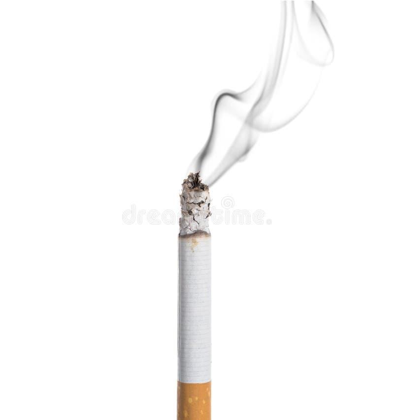 Burning de cigarette d'isolement image libre de droits