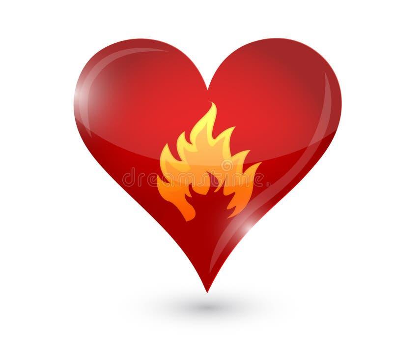 Burning de la pasión. corazón y fuego. ejemplo ilustración del vector