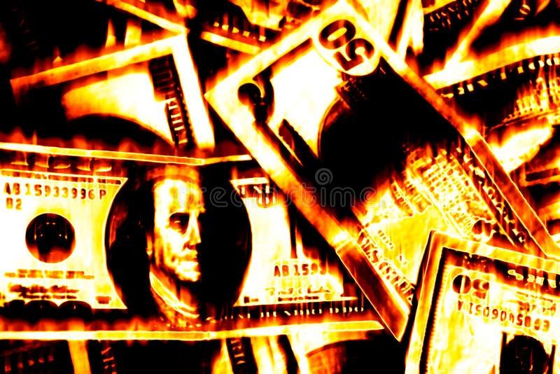 Burning dei soldi fotografie stock