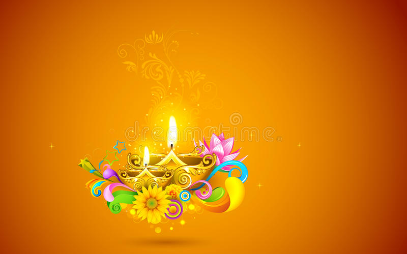 Burning Diwali Diya vector illustration