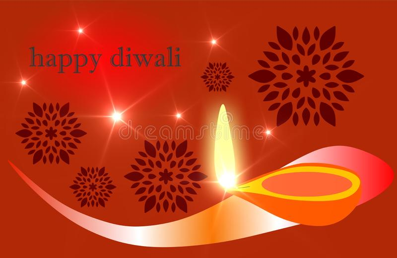 Burning diya on Happy Diwali Holiday background for light festival of India. Diwali, creative. royalty free illustration