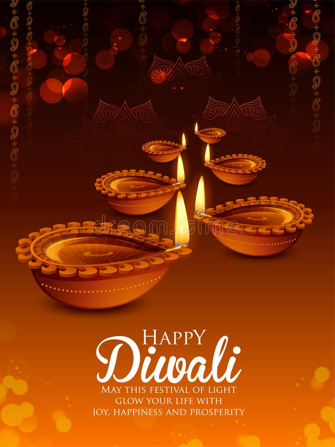 Burning diya on happy Diwali Holiday background for light festival of India stock illustration
