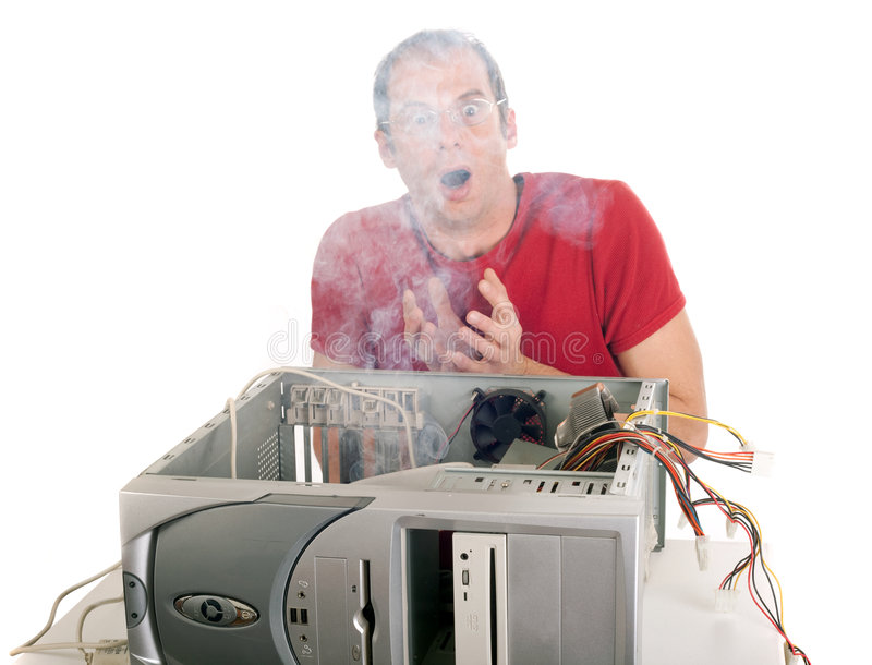 Burning do computador fotografia de stock royalty free