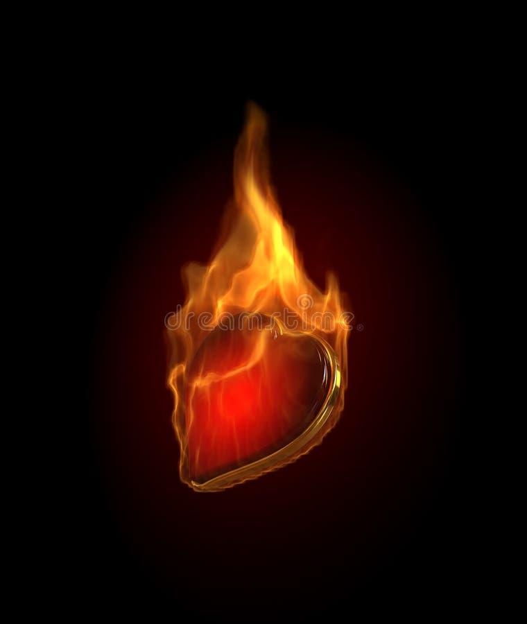burning dobblerihjärtaillustration stock illustrationer
