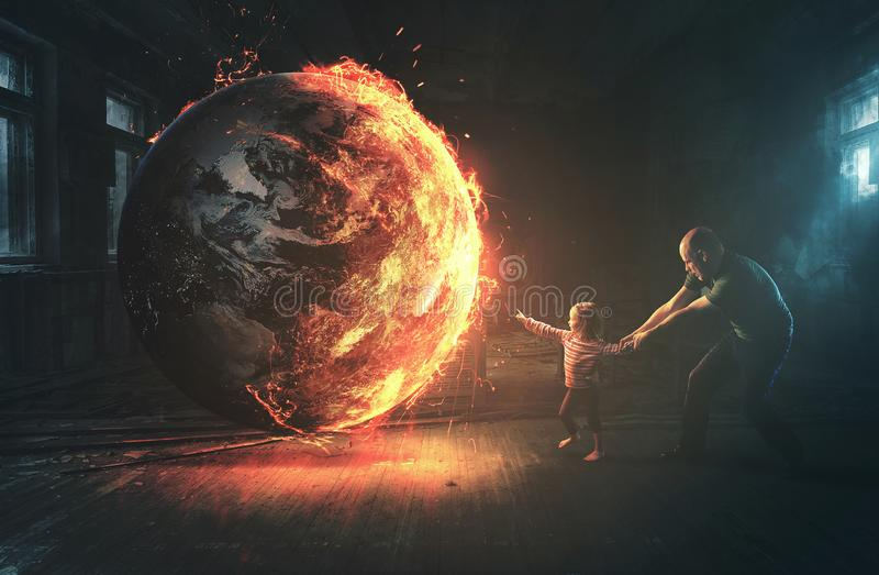 Burning earth and curious child. A little girl reaches out to a burning world, but her father pulls her back to safety stock images