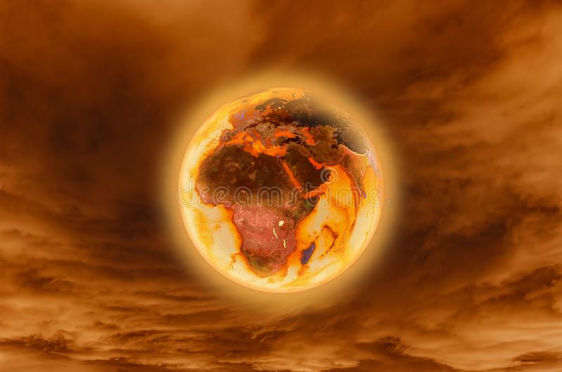 Burning earth -Global Warming Concept elements furnished by NASA .3d rendering vector illustration