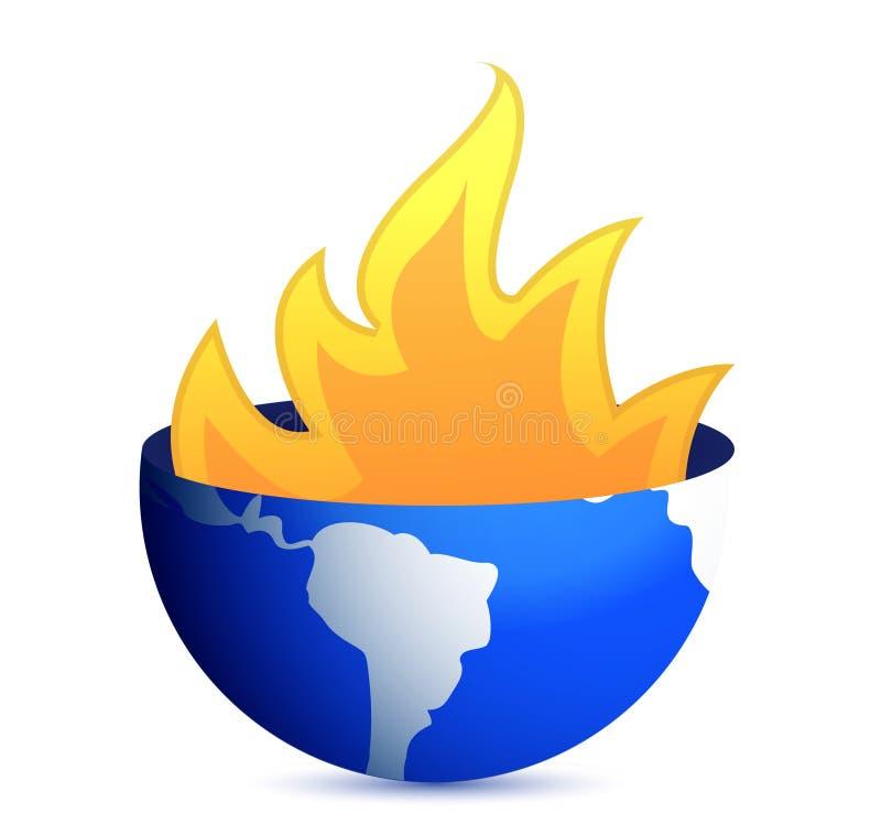 Burning Earth Globe Illustration Design Royalty Free Stock Photography