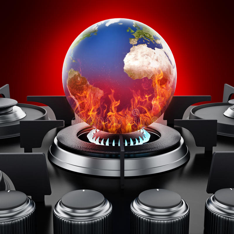 Burning earth on stove. Global warming concept. 3D illustration stock illustration