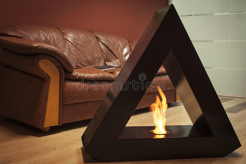 Burning eco fireplace. royalty free stock photo