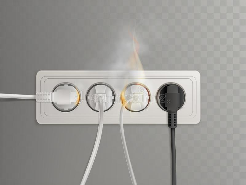 Burning electrical outlet with power plugs vector. Flaming power plugs in horizontal electrical socket realistic vector illustration isolated on transparent royalty free illustration