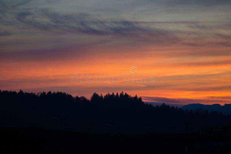 Burning evening sky in Bavaria royalty free stock images