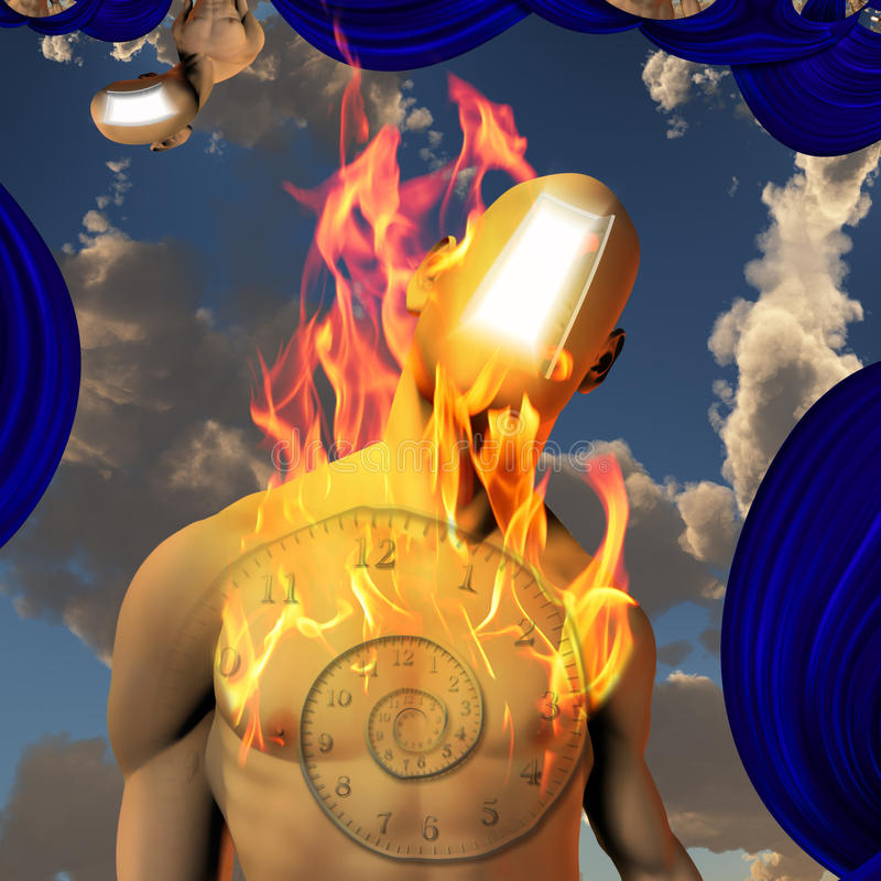 Burning faceless man. With doorway for face stock illustration