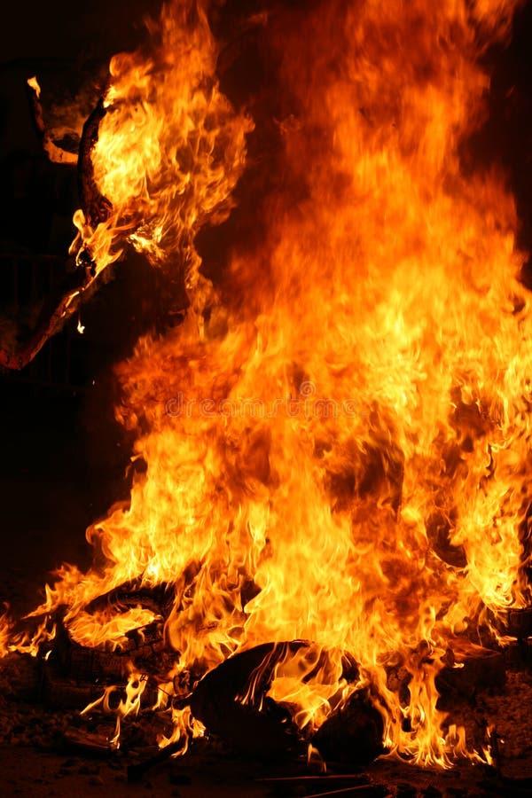 Burning Falla in Valencia. Fire. stock photos